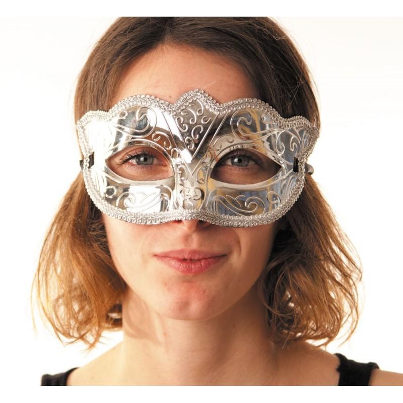 Masque carnaval argent métallisé
