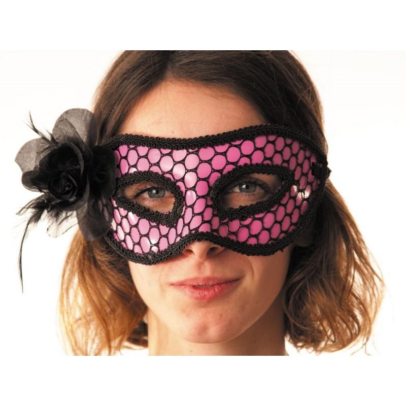 Masque carnaval rose & résille