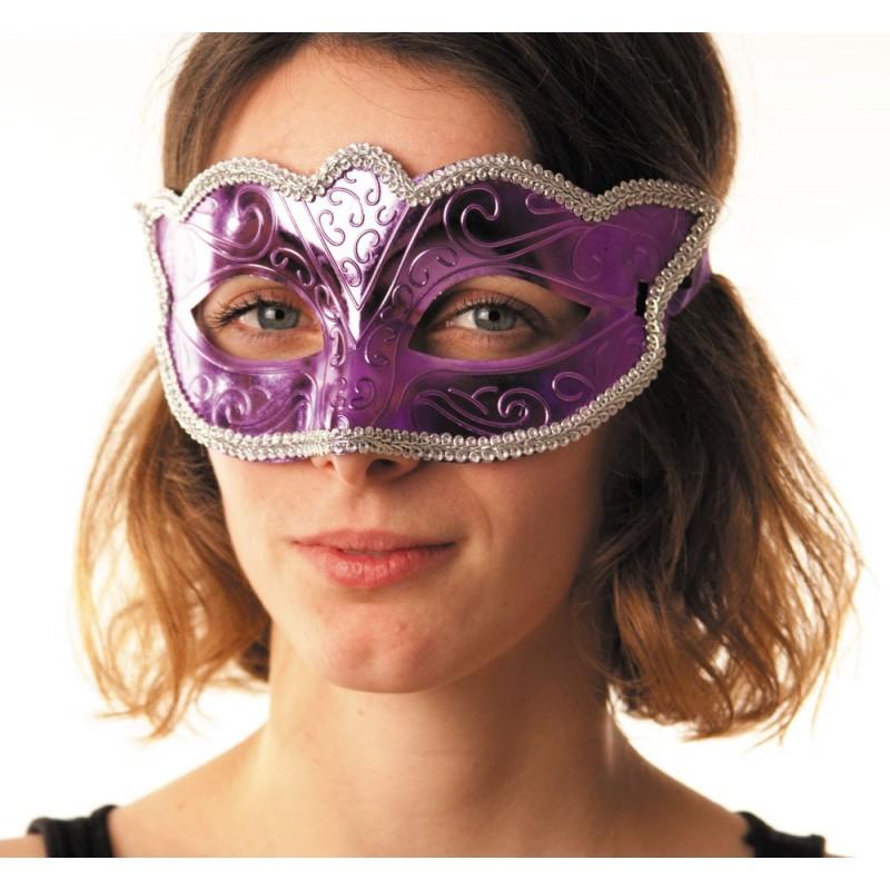 Masque carnaval violet métallisé
