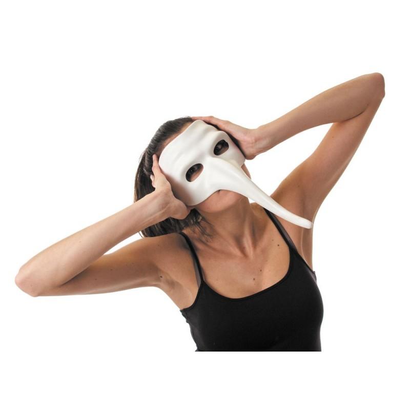 Masque vénitien blanc long nez