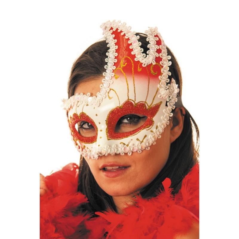Masque vénitien rouge & blanc