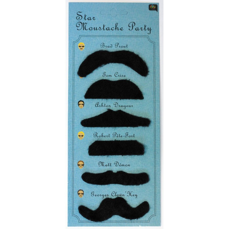 Moustache party star bleu (set de 6pcs)