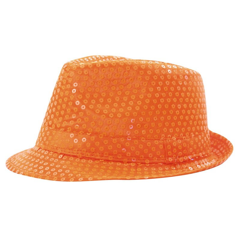 Borsalino sequin néon orange