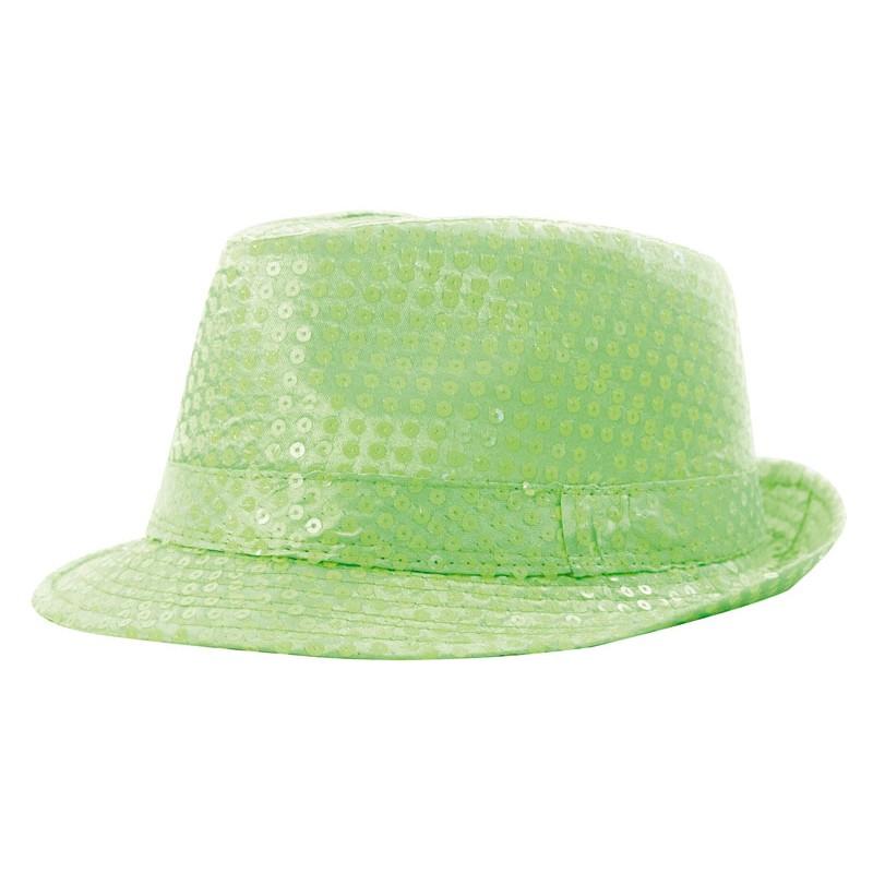 Borsalino sequin néon vert