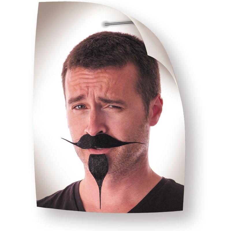 Moustache et bouc pirate noir