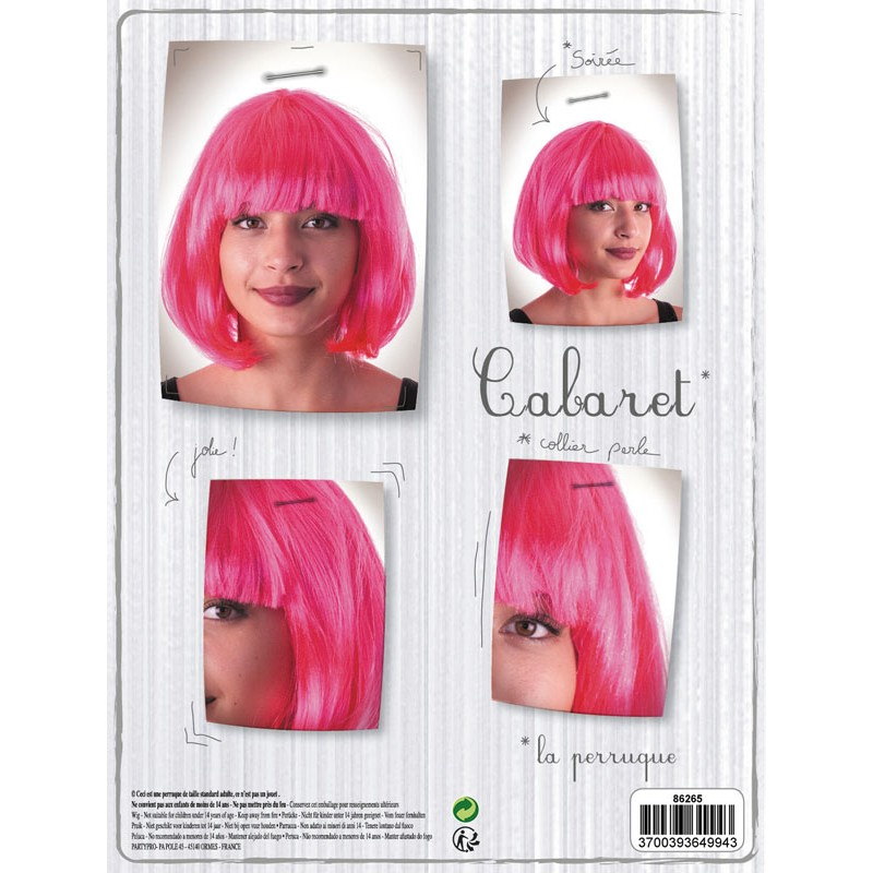 Perruque cabaret rose néon