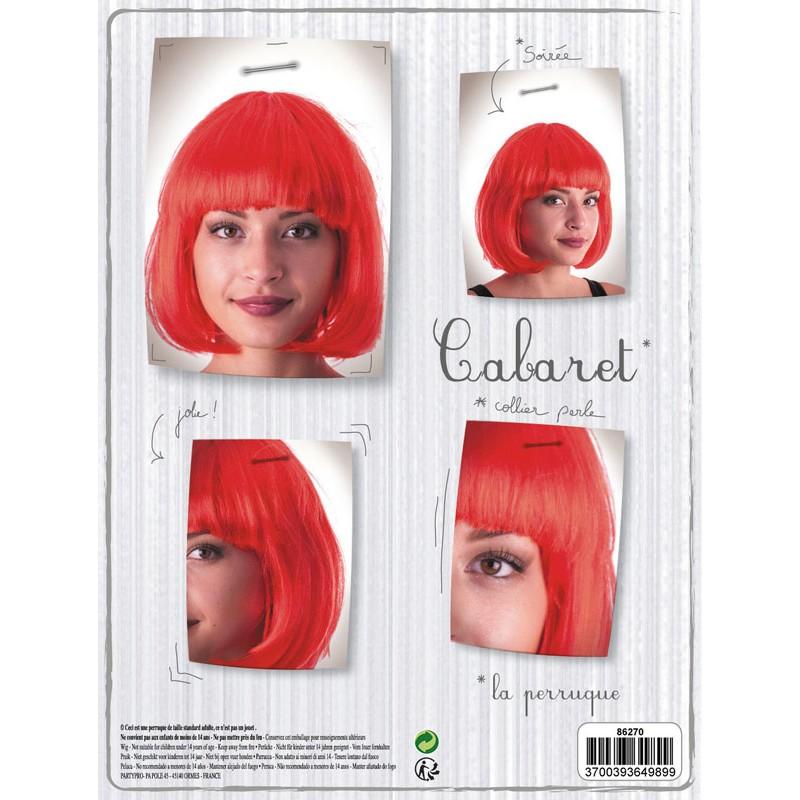 Perruque cabaret rouge néon