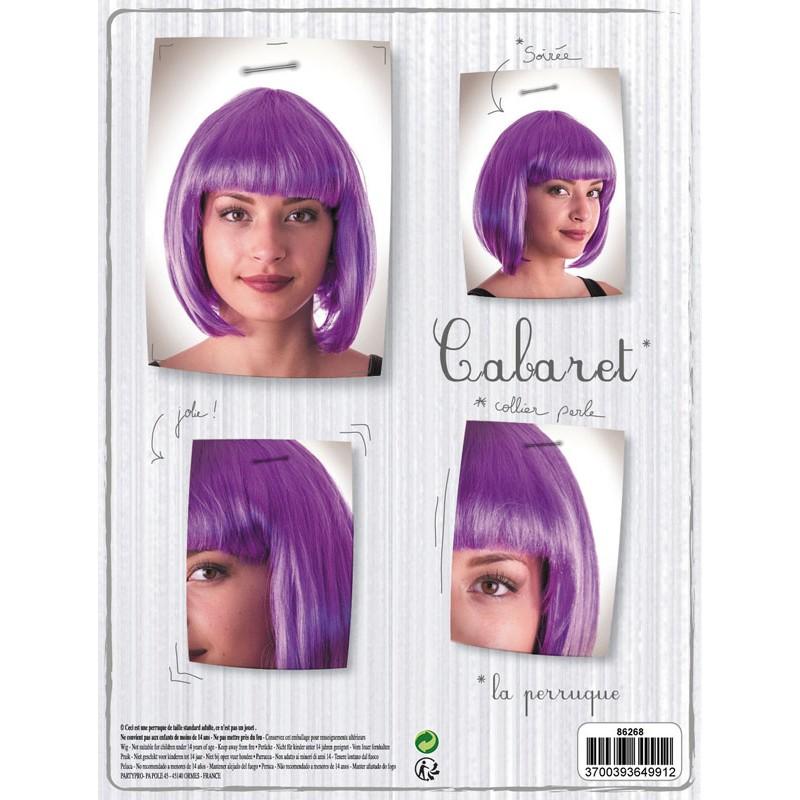 Perruque cabaret violet néon