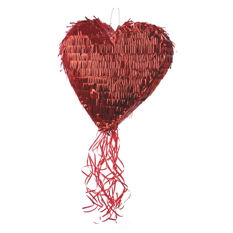 Pinata coeur rouge metallique