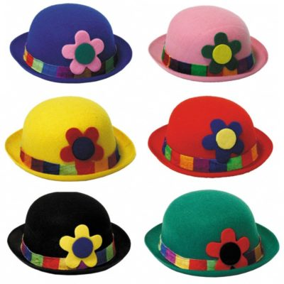 6 CHAPEAUX MELON CLOWN COULEURS ASSORTIES